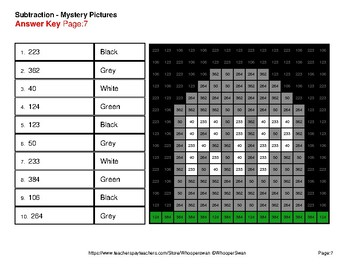 Halloween Math: Three 3-Digit SUBTRACTION - Color-By-Number Mystery Pictures