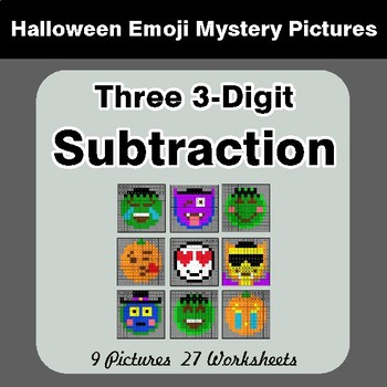 Halloween Math: Three 3-Digit SUBTRACTION - Color-By-Number Math Mystery Pictures