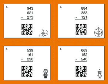 Halloween Math: Three 3-Digit Subtraction QR Code Task Cards