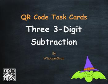 Halloween Math: Three 3-Digit Subtraction QR Code Task Cards