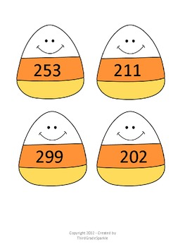 Halloween Math - Three - Digit Addition and Subtraction Candy Corn