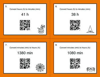 Halloween Math: Time Conversion: Minutes & Hours QR Code Task Cards