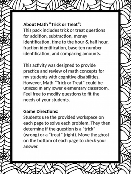 "Halloween Math ""Trick or Treat"" Game"