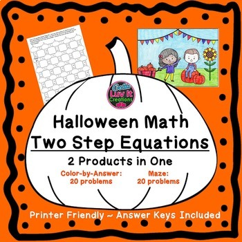 Halloween Math Solving Two Step Equations Fall Activities Color by