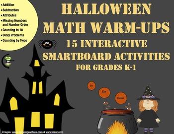 Halloween Math Warm-Ups: 15 Interactive SmartBoard Activit