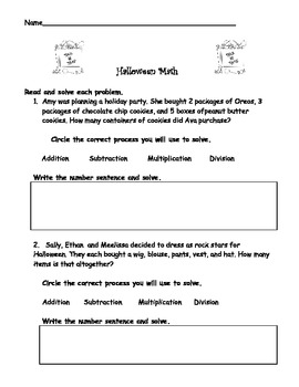 Halloween Math - Word Problems