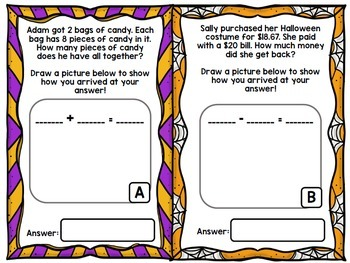 Halloween Math Word Problems - Addition - Subtraction - Special Education