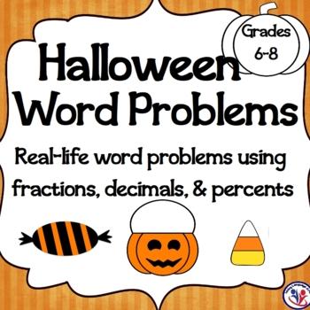 Halloween Math Word Problems: Calculating Decimals, Percents, and Ratios