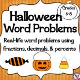 Halloween Math Word Problems: Calculating Decimals, Percents, and Ratios