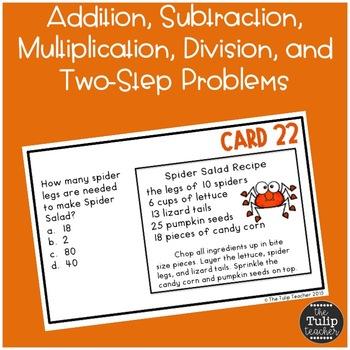 Halloween Word Problems {Math Task Cards}