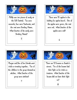 Halloween Math Word Problems Task Cards (Writing Fractions)