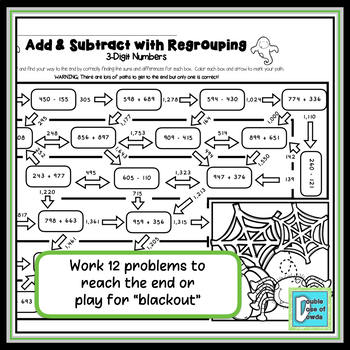 Halloween Math Worksheet Addition and Subtraction with Regrouping - 3 Digits