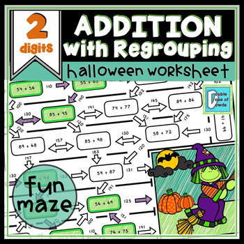 Halloween Math Worksheet Addition with Regrouping - 2 Digits