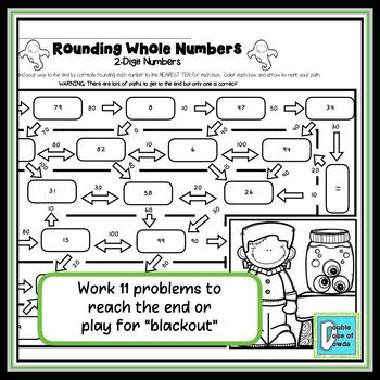 Halloween Math Worksheet Rounding - 2 Digits