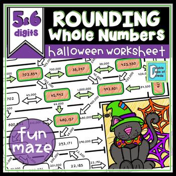 Halloween Math Worksheet Rounding - 5 and 6 Digits