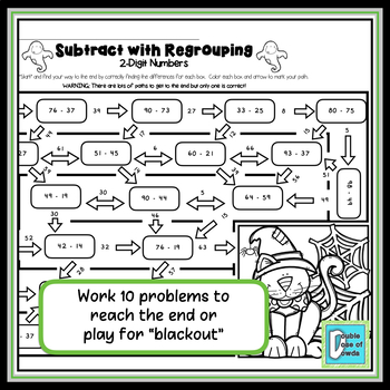 Halloween Math Worksheet Subtraction with Regrouping - 2 Digits