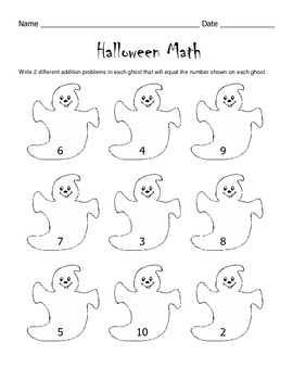 Halloween Math Worksheet / 1st Grade / 2nd Grade by Kelly Connors