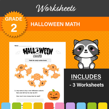 Halloween Math Worksheets (BUNDLE OF 3)! 1st or 2nd Grade