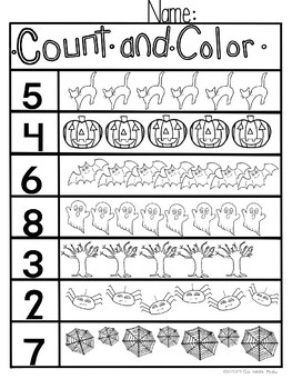Halloween Math Worksheets (1-10) by Go Write Media | TpT