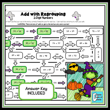 Halloween Math Worksheets Bundle - Addition and Subtraction with Regrouping