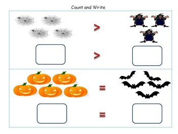 Halloween Worksheets - Skip Counting and Comparing Numbers