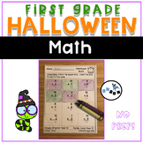 Halloween Math Worksheets First Grade: Common Core (NO PREP)