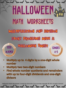 Halloween Math Worksheets - Mult. and Div. Story Problems with a Halloween Twist