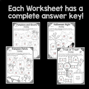 Halloween Math Worksheets Rounding Numbers 3rd Grade 4th Grade Common Core Fun!