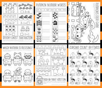 Halloween Math Worksheets - Subtraction, Addition, Sequence, Number Words