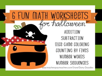 Halloween Math Worksheets - Subtraction, Addition, Sequenc
