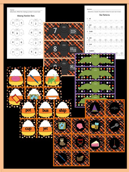 Halloween Math and Literacy Games Bundle