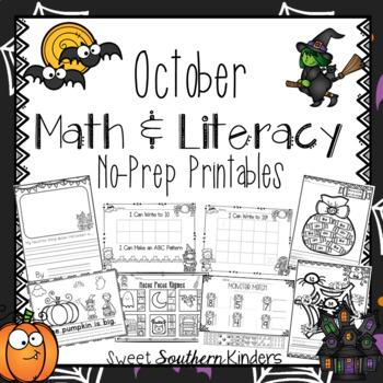 Halloween Math and Literacy No-Prep Printables for PK-K
