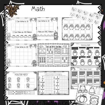 Halloween Activities Math and Literacy No-Prep Printables for PK-K