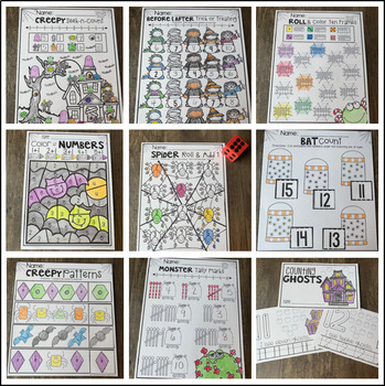 Halloween Math and Literacy Worksheets and Printables for Kindergarten