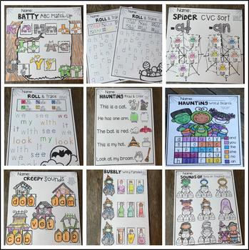 Halloween Activities Math and Literacy Worksheets for Kindergarten