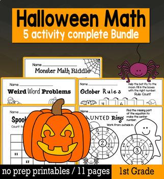 Halloween Math for 1st Grade - NO PREP Packet