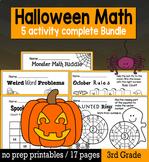 Halloween Math for 3rd Grade - NO PREP Packet