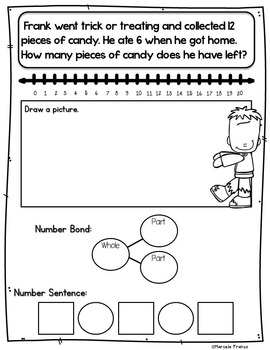 Halloween Math for First Grade- Worksheets, Word Problems, and More!