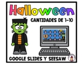 Halloween Math in Spanish Google Slides and Seesaw Matchin