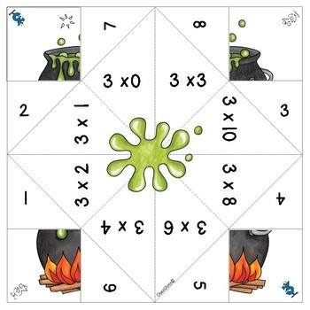 Halloween Math multiplication cootie catchers