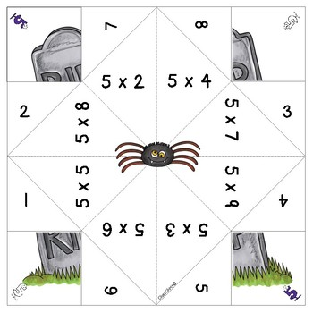 Cootie Catchers / Fortune Tellers - Halloween Math Multiplication