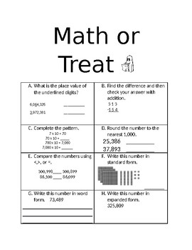 Halloween Math or Treat