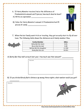 Halloween Math with Common Core Standards