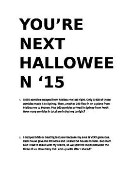 Halloween Maths Challenging Worded Problems/Basic Operatio