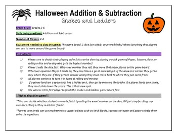 Halloween Maths Fun Game Activity Addition and Subtraction
