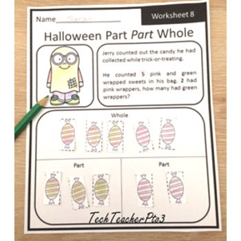 Halloween Maths Problem Solving Part Part Whole Strategy 10 Worksheets