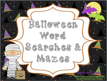 Halloween Mazes and Word Searches!