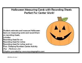 Measuring Cards Halloween Theme Plus Pumpkin Ordering Numbers