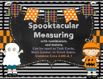 Halloween Measuring Center-Task Cards- Scoot Game 2.MD.A.1