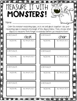 Halloween Measuring --- Monster Measuring Palooza Math Centers